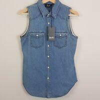 BARDOT   Womens Pearl snap Button Denim Shirt Top NEW  [ Size AU 8 or US 4  ]