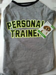 NEW GREY AND BLACK  T-SHIRT, SIZE MEDIUM, WITH PERSONAL TRAINER ON.