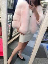 GENUINE REAL LONG (Vulpes vulpes)red  FOX FUR Coat Baby Pink