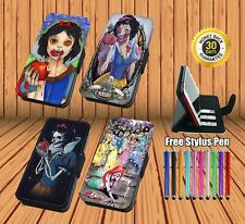Snow White Zombie Printed Leather Flip Phone Case Cover Wallet