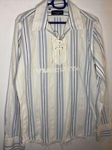 Mens Casual Boho Shirt Peasant Top Long Sleeved White Blue Stripes Sz M 100%cott