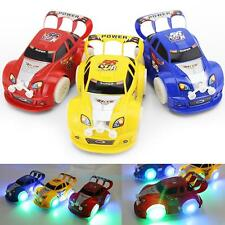 Kid Boy Auto Steering LED Light Flashing Musical Racing Car Electric Toy Gift