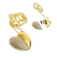 8 GB Flash Drive GOLD Crystal HEART PENDANT Necklace Jewelry Memory Stick - NEW