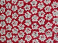 """FRYETTS """"ROSE CHINTZ"""" 1.5 metres CURTAIN FABRIC remnant RED SHABBY CHIC"""
