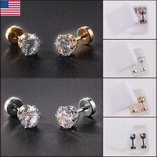 Women Round Crystal Zircon Stud Earrings Small Screw Back Ear Drop Jewelries US
