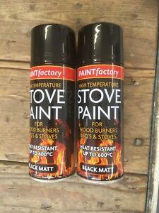 2 X 400ml High Temperature Spray Paint Matt black Stove Fire BBQ Heat resistance