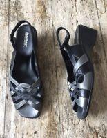 Women's Black / Pewter HOTTER 'JENNY' Sandals Wedge Shoes ~UK 6.5/EU 40~Leather
