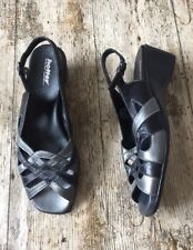 Women's Black / Pewter HOTTER 'JENNY' Sandals Wedge Shoes ~UK 6.5/EU 40~Leather