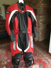 Prexport Black White Red Leather Motorcycle Suit Jacket Trousers Size 14 16
