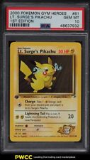 2000 Pokemon Gym Heroes 1st Edition Lt. Surge's Pikachu #81 PSA 10 GEM MINT