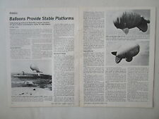 1/1973 ARTICLE + 3 PAGES BALLOONS PROVIDE STABLE PLATFORM AEROSTAT TV RELAY ARPA