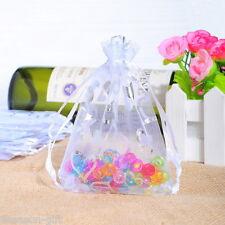 100 White Heart Organza Wedding Gift Bags&Pouches 9x12cm