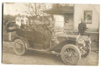 RPPC Postcard Man Driving Antique Car With Family Top Down