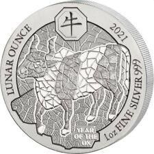 RWANDA 50 RWF Argent 999/1000 1 Once Année du Boeuf 2021