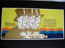 Stunning 1930's Chocolate Label w/ Three Men in Top Hat w/ Monocle & Cigar *