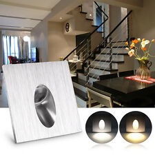 Modern Square LED Recessed Step Stair Light 1W Porch Pathway Wall Lamp White