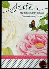 Birthday Roses Butterflies Leaves GLITTERED - For Sister BIRTHDAY Greeting Card