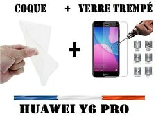 Coque Etui Housse Silicone Gel Transparent HUAWEI Y6 Pro 2017 +Film Verre Trempé