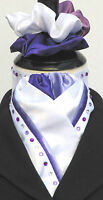 Ready Tied White with Purple & Lilac Faux Silk Riding Stock & Scrunchie Diamante