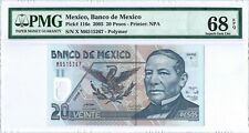 Mexico 20 Pesos 9 Nov. 2005 PMG 68 EPQ  serie X s/n M6515267 POLYMER