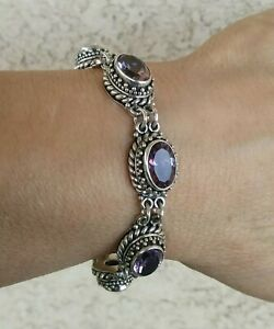 "Suarti Bali Handcrafted Amethyst Toggle Bracelet Sterling 44.6 grams / 7 3/4"""