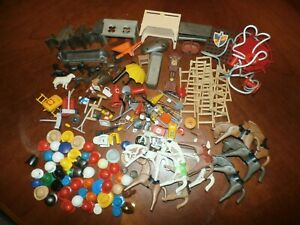 Lg Group Lot Vintage Geobra Playmobil Playset Accessories Hats Furniture Parts
