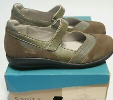 Sanita Taupe Mary Jane Fanny Shoes Suede Leather Strap EU 39 - 8.5-9