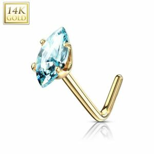 Piercing Nose Yellow Gold 14 Carat Stone Marquise Turquoise
