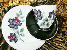 ROYAL ALBERT COFFEE CUP & SAUCER TRIO  ~MASQUERADE~ BLACK AND PINK ROSES