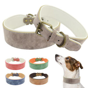 5CM Wide Leather Dog Collar Velvet  Big Dogs Padded Plain Collar for Large Dogs