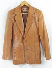VTG PIONEER WEAR Men's tan leather jacket coat blazer western rockabilly sz S