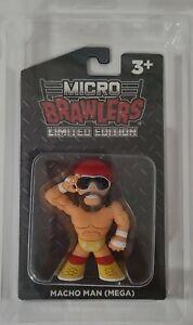 Macho Man MEGA Yellow Micro Brawler w Protector WWF Randy Savage WWE WCW powers