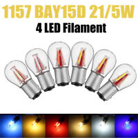 4 LED Filament BAY15D 1157 21/5W Car Reverse Backup Tail Stop Brake Light Bulb