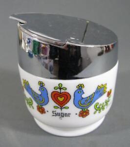 Vintage/retro 60s milk glass/chrome sugar bowl Gempo USA kitchenalia