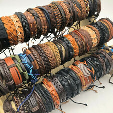 Pack of 100pcs Retro Leather Cuff Bracelets For Man Women Jewelry Wristbands