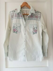 SPELL & The GYPSY Collective Sz M Light Denim Printed Shirt