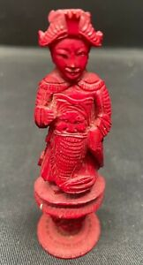 """ANTIQUE SUPERB CARVED pre 1900 """"RED"""" CHINESE  QUEEN CHESS PIECE GOOD CONDITION"""