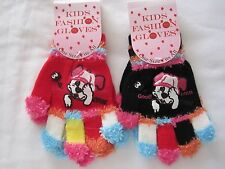 BNWT  -2 prs  FASHION GLOVES WITH DOG FACE  - ONE SIZE FITS ALL  RED/BLACK