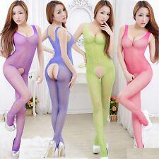 Sexy Body Stocking Bodysuit Crotchless Fishnet Babydoll Lingerie Underwear UK