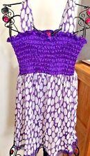 Antilia Femme Sheer Sleeveless Top Lace Bottom Polka Dot Medium Purple White