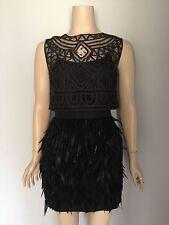 "SASS & BIDE Black Feather Silk & Lace ""Winding Road Dress"" 12"