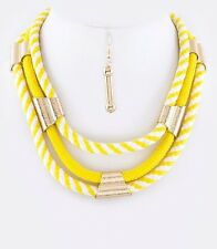 D23 Nautical Fabric Briaded Rope Yellow White Metal Accent Bib Necklace Boutique