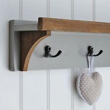 Grey Coat Rack With 3 Hooks and Wall Shelf