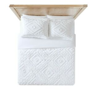 Better Homes Chenille 3 pcs comforter Duvet Cover Set 2 king shams King, White