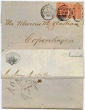 GB per la Danimarca 1872 nave ILLUSTRATO intestazione lettera Henry scholefield 2 x4d Newcastle