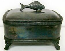 18-1900's SILVER PLATED MIDDLETOWN, CT. SARDINE BOX WITH FIGURAL FISH TOP LID