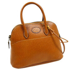 HERMES Mini Bolide 2way Hand Bag Purse Pig Leather Brown Authentic AK41397