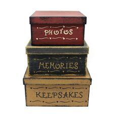 Vintage Square Photos, Memories, Keepsakes Cardboard Nesting Boxes Gift Set of 3