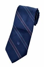 Christian Dior Navy Blue Diagonal Stripe Embroidered Logo Neck Tie - Pristine!