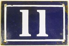 Old blue French house number 11 door gate plate plaque enamel steel sign c1950